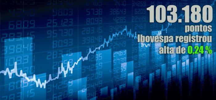 Ibovespa fecha acima dos 103 mil pontos, maior pamatar do mês